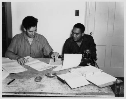 Green (left) working. Image from UNC-Chapel Hill Libraries.
