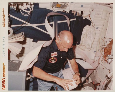Thornton conducting research on the Challenger space shuttle. Image from the State Archives.