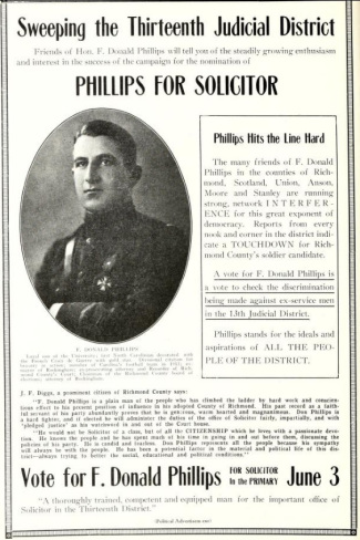 A poster advertising Phillips's run for solicitor. Image from UNC-Chapel Hill Libraries.