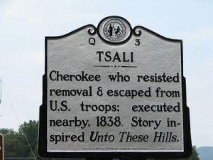 Tsali historic highway marker