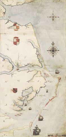 A map of the Roanoke Island from 1585 by John White