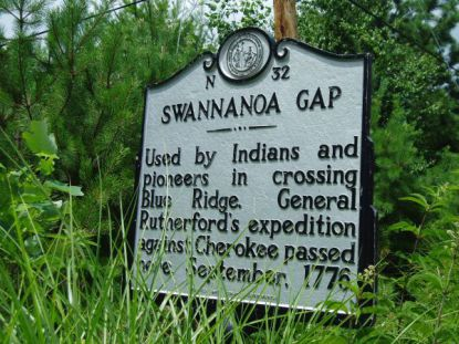 Used by Indians and pioneers in crossing Blue Ridge. General Rutherford's expedition against Cherokee passed here. September, 1776.