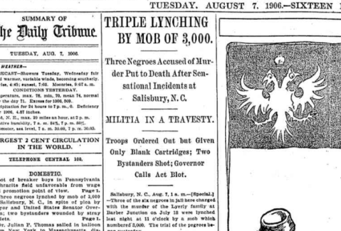 An article in the Chicago Tribune reporting the murders.