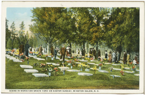 A postcard showing the scene at a Moravian graveyard on Easter morning.