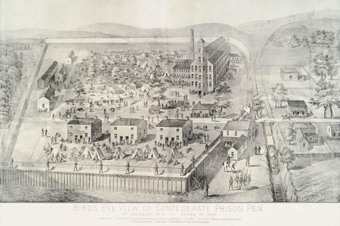 An 1864 sketch showing a bird's-eye view of the prison. Image from the N.C. Museum of History.