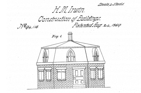 An illustration from Irwin's 1869 patent. Image from the U.S. Patent and Trademark Office.