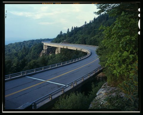 The Linn Cove Viaduct Bridge part of the Blue Ridge Parkway. Image from the Library of Congress.