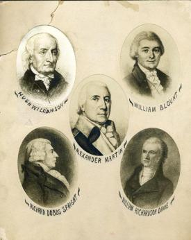 A composite of North Carolina's delegates to the Constitutional Convention. Image from the N.C. Museum of History.