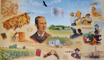 A reproduction of a mural created to celebrate 100 years of the American Tobacco Company. James B. Duke is featured. Image from N.C. Historic Sites