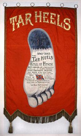 A post-Civil War commemorative banner that celebrates the accomplishments of North Carolina's Confederate solider. Image from the N.C. Museum of History