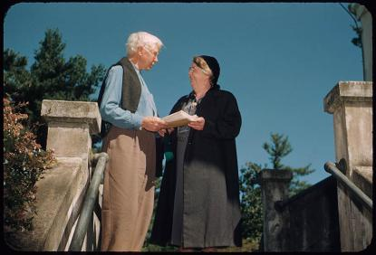 Carl Sandburg with a guest at Connemara in 1952. Photo from the N.C. Museum of History