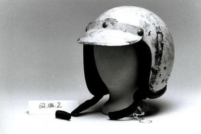 A racing helmet used by Junior Johnson, now in the collection of the N.C. Museum of History