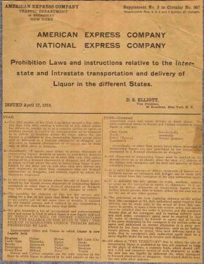 A handbill from 1915–now held by N.C. Historic Sites— outlining Prohibition rules.