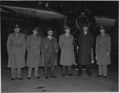 A group of men tour Seymour Johnson Air Force Base during World War II. Image from the N.C. Museum of History