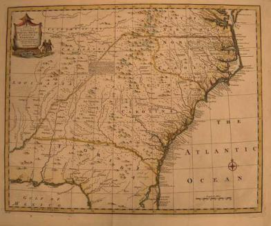 A map of the Carolinas from the 1700s, now part of the collection at Tryon Palace