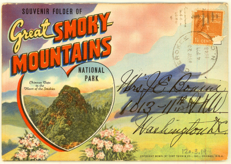 A 1948 souvenir postcard packet Great Smoky Mountains National Park now held by the State Archives