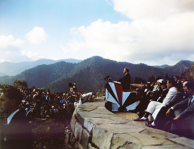 President Franklin D. Roosevelt speaks at the dedication of the Smoky Mountain National Park in September 1940. Image held by the State Archives