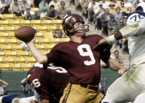 Jurgensen playing for the Washington Redskins in October 1967. Image from the National Football League.