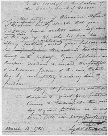 The March 1795 petition emancipating Carruthers Stanly.