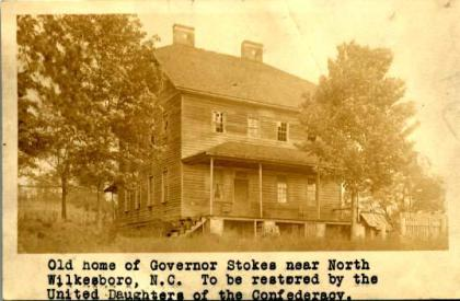 Mourne Rouge, Montfort Stokes' house near Wilkesboro. Image from State Archives.