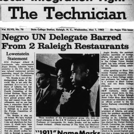 A story in The Technician covering the Brooks-Lowenstein incident. Image from NCSU Libraries.