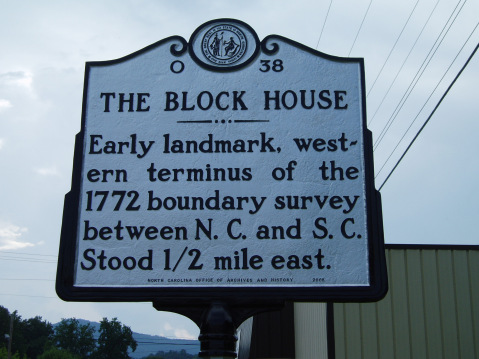 The Block House - Early landmark, western terminus of the 1772 boundary survey between N.C. and S.C. Stood 1/2 mile east.