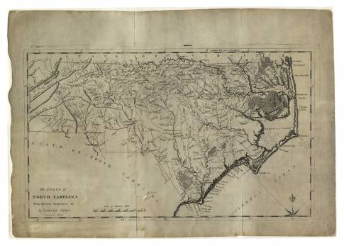 A circa 1796 map of North Carolina that includes Glasgow County. Image from the State Archives.