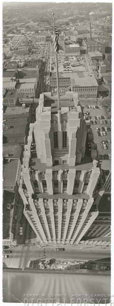 Looking down at the Reynolds Building from the Wachovia Building, circa 1960s. Image from Digital Forsyth.