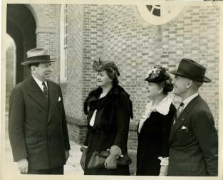 Gov. and Mrs. J. M. Broughton ,and Mr. and Mrs. C. A. Cannon in Williamsburg, Va. doing research for the restoration of Tryon Palace. Image from  the N.C. Museum of History