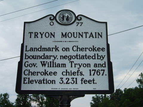 Tryon Mountain: Landmark on Cherokee boundary, negotiated by Gov. William Tryon and Cherokee chiefs, 1767. Elevation 3,231 feet.