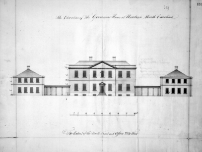 Plans showing the front elevation of Tryon Palace designed by John Hawks in 1767. Image from the Office of Archives and History