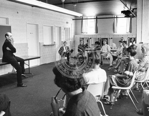 William Ball leads a drama class at NCSA, circa 1965.-66 Photo courtesy of the University of North Carolina School of the Arts Archives.