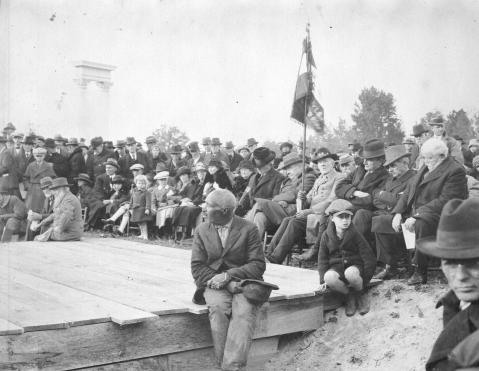 The Unity Monument is unveiled at Bennett Place in November 1923 (the dedication is the day we remember today). Image from the State Archives.