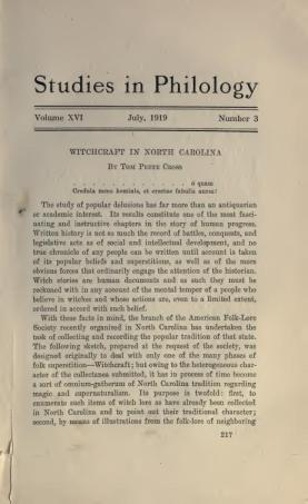 A 1919 journal article on witchcraft in North Carolina