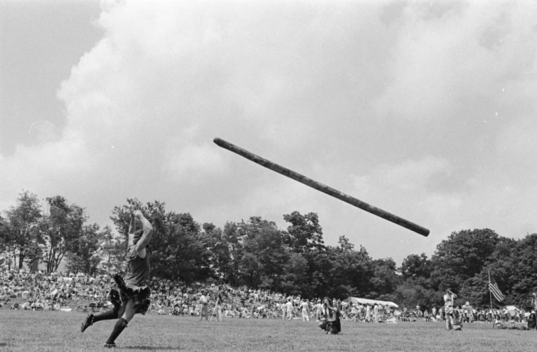 The caber toss at the Grandfather Mountain Highland Games. Image from the North Carolina Collection at UNC Chapel Hill