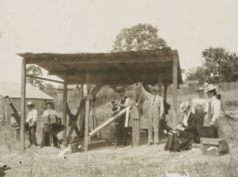 Members of the British Astronomical Association waiting to observer the Wadesboro eclipse. Image from the North Carolina Collection