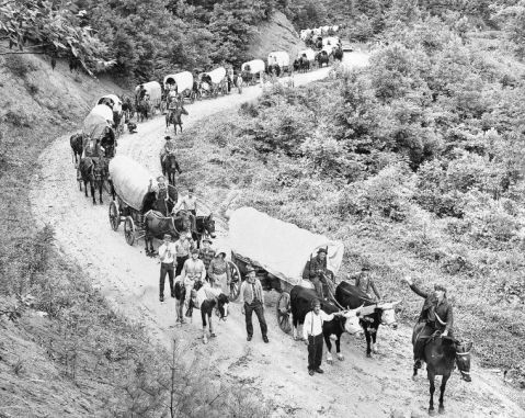 The wagon train during its first trip in 1963. Image from the Wilkes Journal-Patriot.