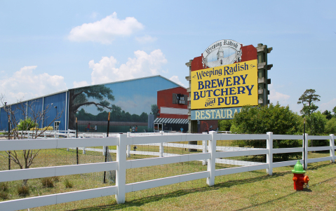 The entrance to Weeping Radish's current location in Grandy. Image from Weeping Radish Brewery.