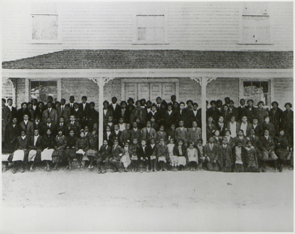 The entire Palmer Institute student body in front of Memorial Hall in 1910. Image from the Charlotte Hawkins Brown Museum