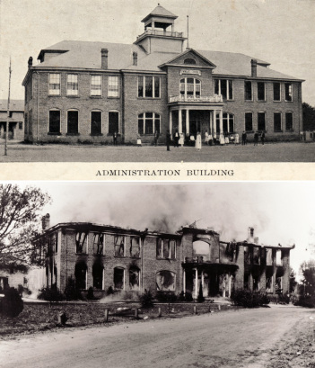 Wingate's Administration Building before and after the 1932 fire. Image from Ethel K. Smith Library at Wingate University.