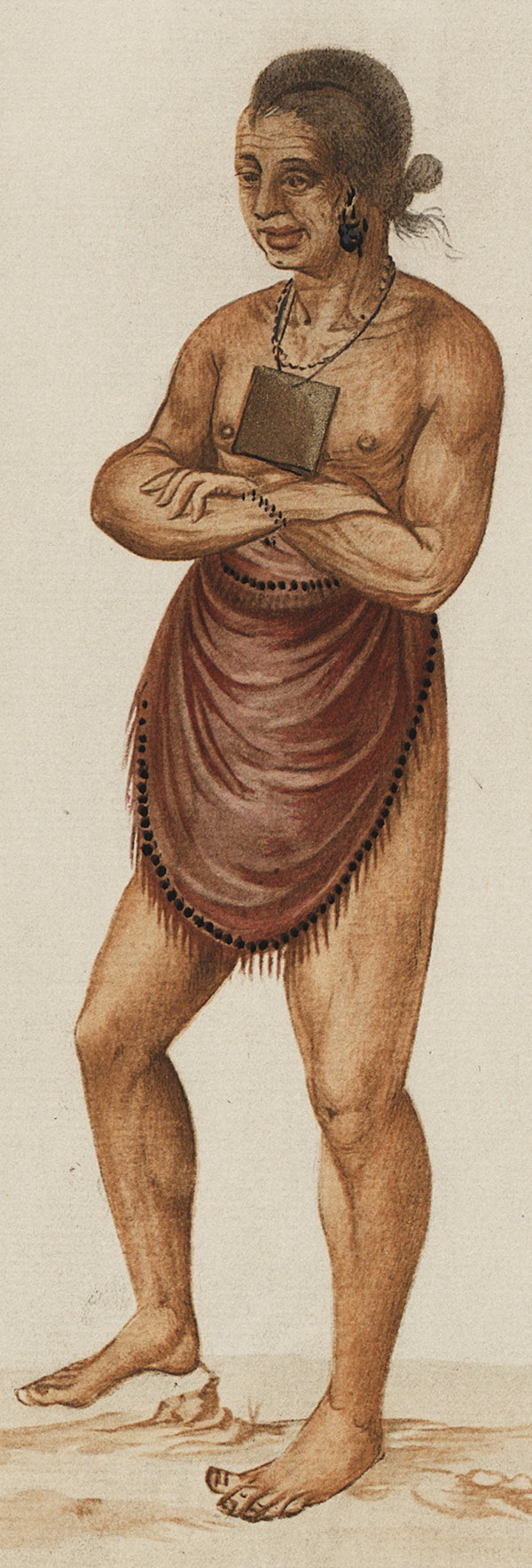 A watercolor of Pemisapan by John White. Image from East Carolina University Libraries.