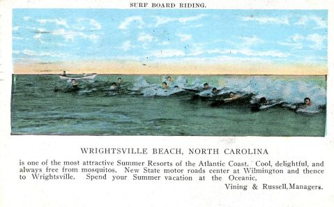 A postcard featuring surfing in Wrightsville Beach. Image from the State Archives.