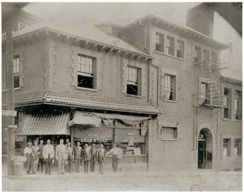 The drugstore at the Young Men's Institute in 1905. Image from the Pack Memorial Library.