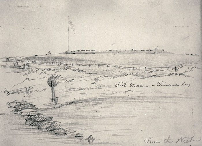 An 1862 sketch of Fort Macon, now held by the State Archives