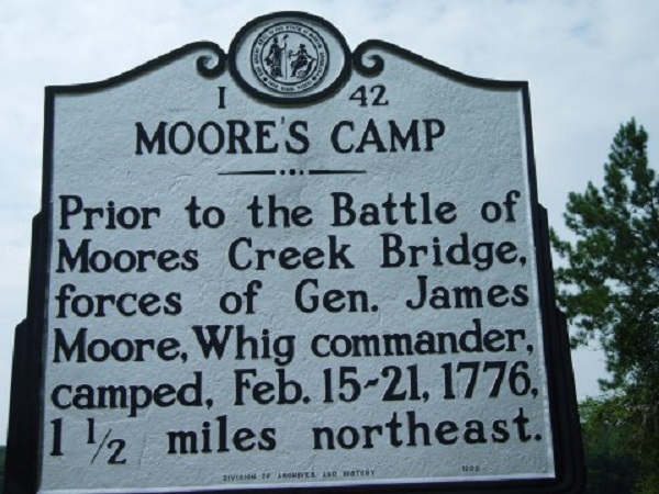 Prior to the Battle of Moores Creek Bridge, forces of Gen. James Moore, Whig commander, camped, Feb. 15-21, 1776, 1.5 miles northeast.