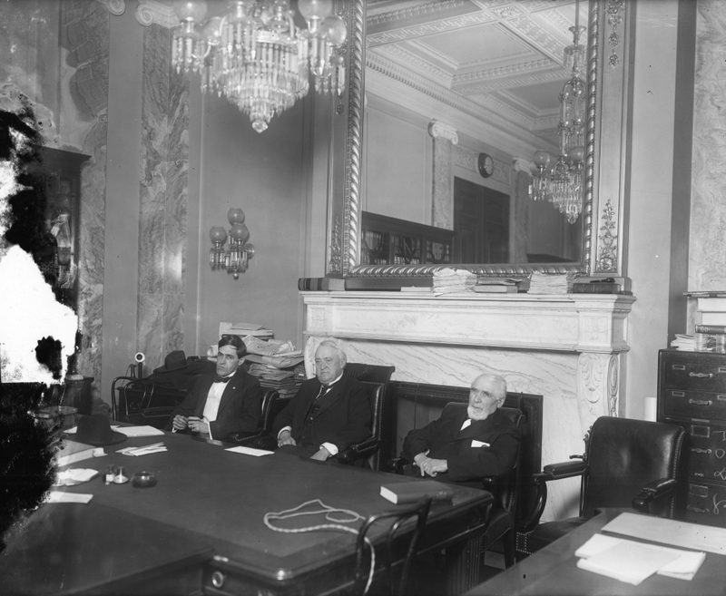 Three of the Overman Committee's five members. North Carolina Senator Lee Overman is seated in the center. Image from the U.S. Senate Historical Office.