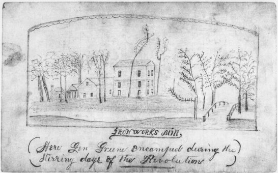 A sketch of an early ironworks in Rockingham County. Image from the North Carolina Collection at UNC-Chapel Hill.