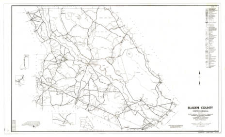 A 1968 highway maintenance map of Bladen County