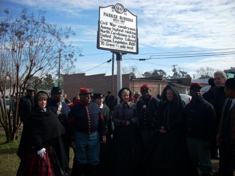 U.S. Colored Troops Re-Enactors at the Parker Robbins Highway Marker