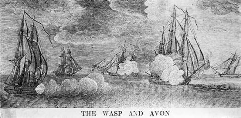 An engraving of the Wasp engaged in battle from the N.C. Museum of History